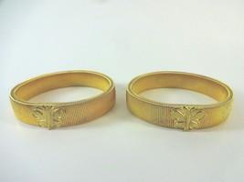 (2) Vintage MCM Gold Tone Metal Stretch Flex Spring Bracelet w/ Butterfl... - $21.11
