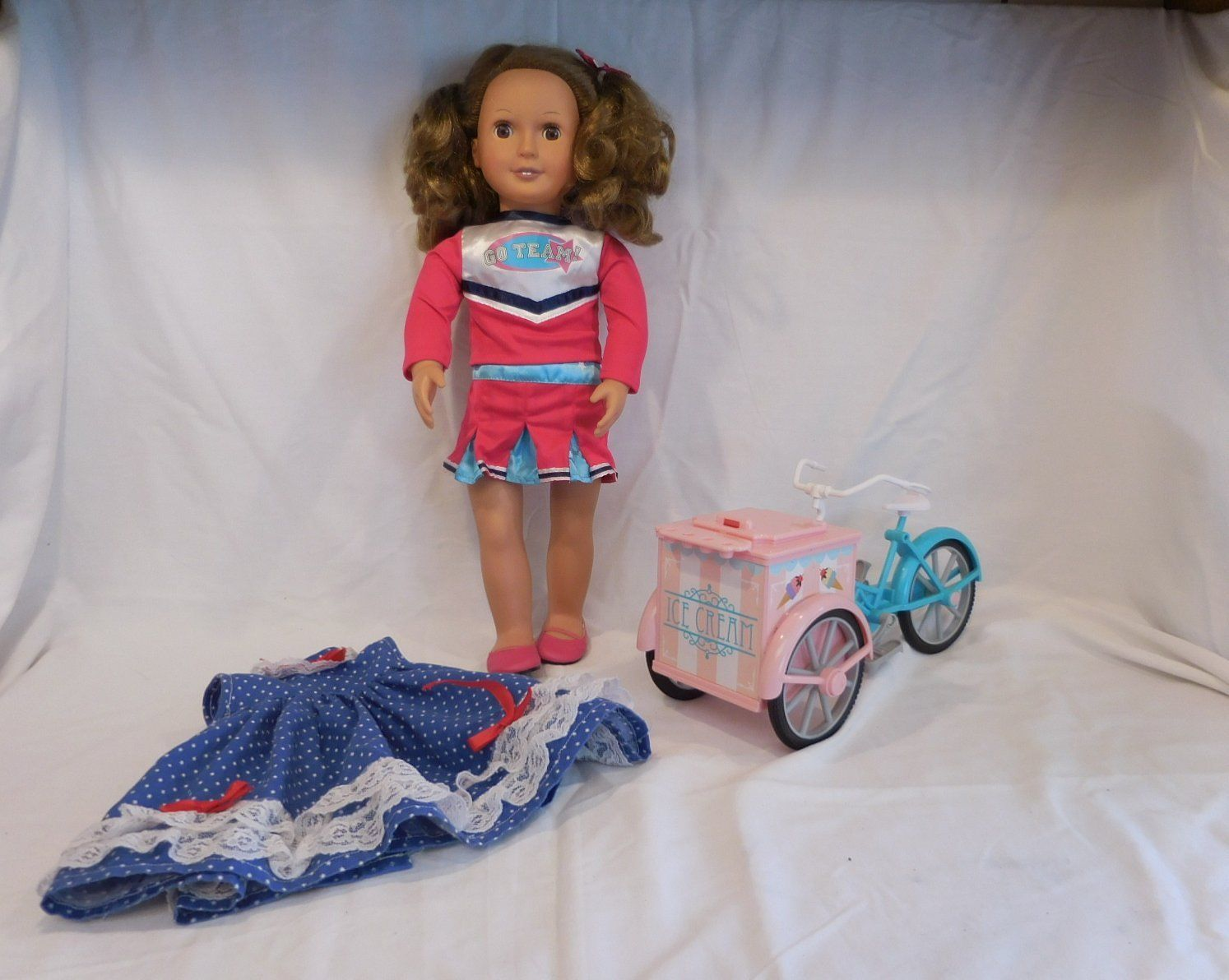 """Our Generation Regular 18"""" Doll Fits American Girl  + Bicycle Ice Cream Wagon Mu - $28.03"""