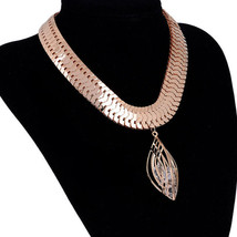 Gold Color Crystal Chunky Statement Bib Pendant Chain Choker Necklace - $15.83