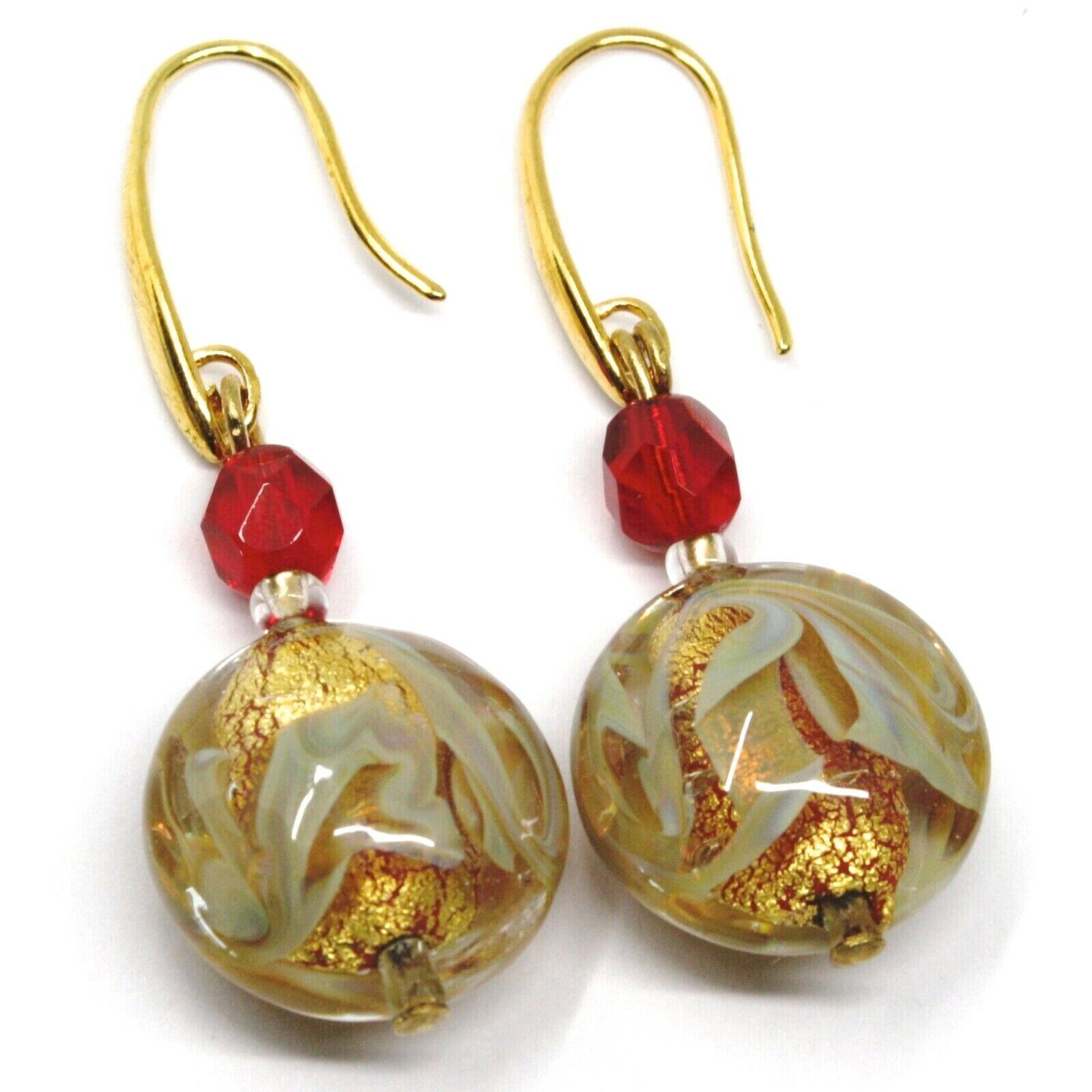 PENDANT HOOK EARRINGS RED YELLOW DISC MURANO GLASS GOLD LEAF MADE IN ITALY