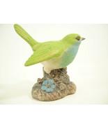 Bird Green Blue Hand Painted Figurine Figure Bisque Porcelain Estate - $14.80