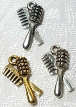 HAIR BRUSH AND COMB FINE PEWTER PENDANT CHARM