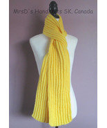Scarf Hand Knit Yellow Ribbed 62 Inch Neck Warmer Hand Made In Canada - $24.00