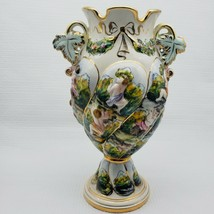 Vintage Capodimonte Vase Italy Putti Cherubs Gold Italian Art Pottery Si... - $92.06