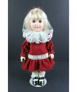 """Vintage 1980 Effanbee Doll 1481 12"""" Day by Day Series Red Velvet Dress w... - $33.63"""