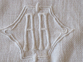 ANTIQUE FRENCH LINEN TABLECLOTH WITH DOUBLE A MONO - $45.00