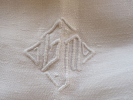 ANTIQUE FRENCH LINEN DAMASK TABLECLOTH GM MONO  - $85.00