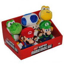 Super Mario Brothers 6 Inch Tall Set of 5 Plush Brand NEW! - $89.95