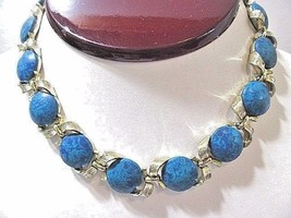 DESIGNER SIGNED LISNER CHOKER NECKLACE LUCITE DISKS MARBLED BLUE GOLD TO... - $20.00
