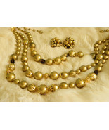 Gold Beaded 3 Strand Gold Tone Necklace Earrings Set Vintage - $28.50