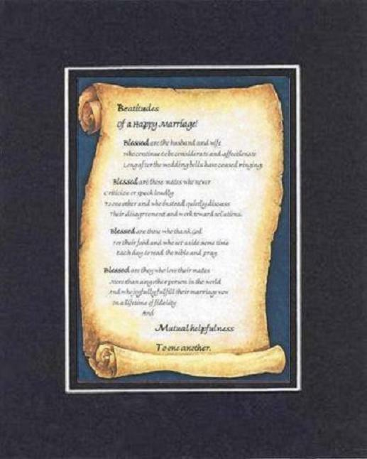 Primary image for Handmade Inspirational Plaque for Love -  Beatitudes of a Happy Marriage Poem