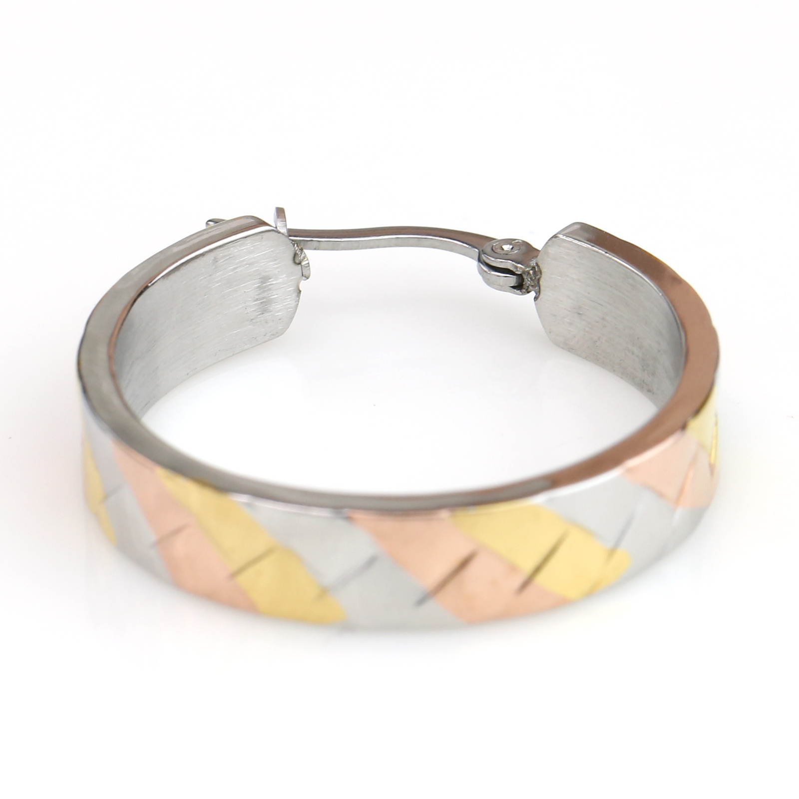 Retro Designed Tri-Color Silver, Gold & Rose Tone Hoop Earrings- United Elegance