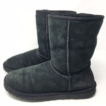 UGG Womens Classic Short Black Suede Winter Pull On Boots Shoes 5825 Sz ... - $54.99