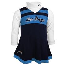 Toddler San Diego Chargers Cheerleader Dress Girl's 2-pc Jumper Turtleneck Cheer