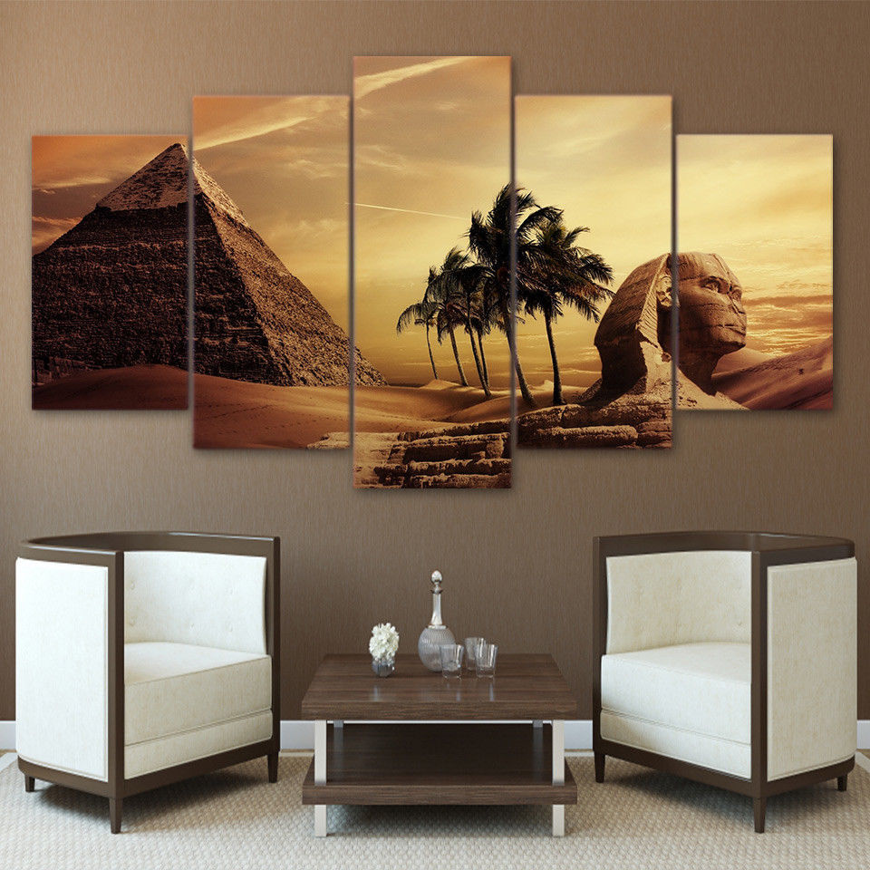 Large Framed Egyptian Sphinx Pyramid Desert Canvas Print Wall Art Home 5 Piece