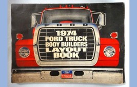 1974 vintage FORD TRUCK BODY BUILDERS LAYOUT BOOK chassis engine wiring cab - $34.95