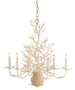 CURREY & CO. COMPANY Seaward Chandelier # 9218, White Coral, Coastal Chi... - $1,150.00