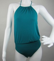 Express Women's Bodysuit Top Turquoise Halter Stretch Sleeveless Knit Si... - $14.01