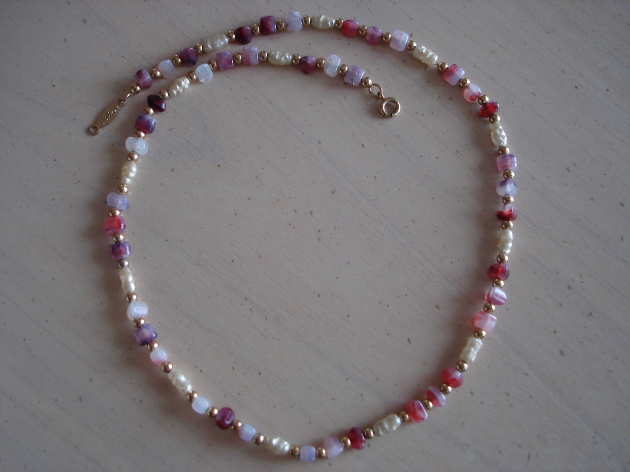 Napier Shell, Polished Stone ,Goldtone Bead Necklace