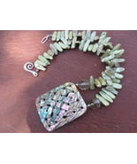 Abalone Shell and Pistachio Fresh Water Stick Pearl Handmade Necklace - $40.00