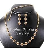 Beautiful golden topaz crystals necklace earrin... - $13.86