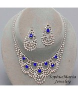 Blue clear Crystal Rhinestone Bridesmaid Prom Mother of the Bride Neckla... - $19.79