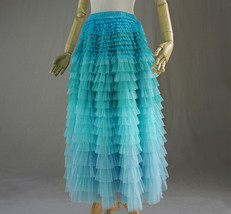 PASTEL GREEN Long Tulle Skirt Blue Green Tiered Tulle Skirt Party Skirts image 3