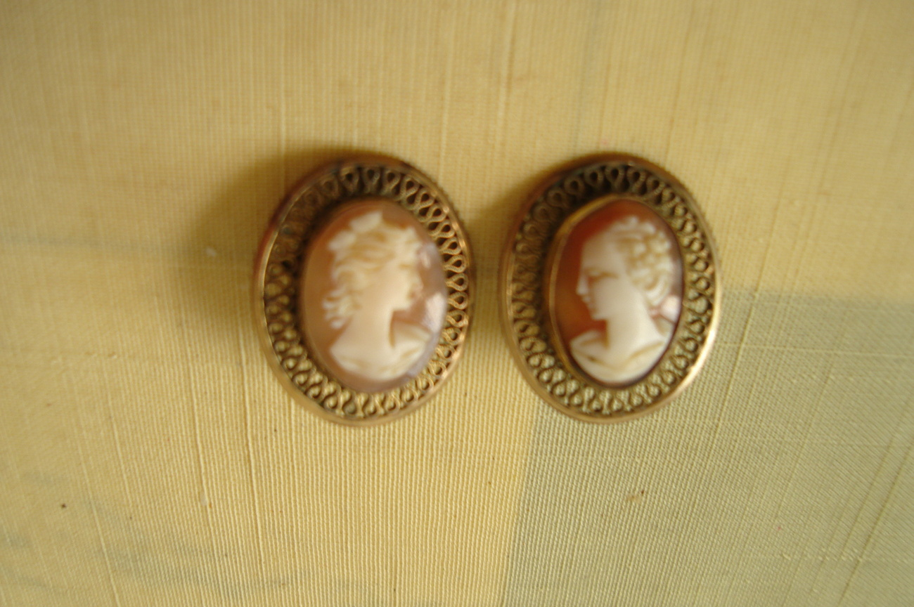 Vintage Cameo Earrings - Clip on