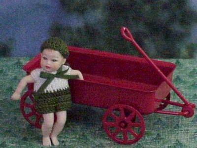 Dollhouse Baby Green-white 1-piece Outfit Heidi Ott Clothing Miniature 1:12