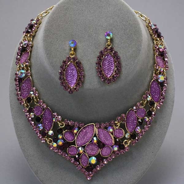 Primary image for Graceful runway purple amethyst crystal necklace set bride evening