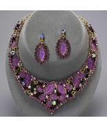 Graceful runway purple amethyst crystal necklace set bride evening - $49.49