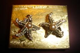 Vintage Rhinestone and Pearl Clip on Earrings - $20.00