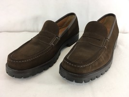 Salvatore Ferragamo Italy Mens 12 B Brown Suede Leather Penny Loafer Shoes - $246.51