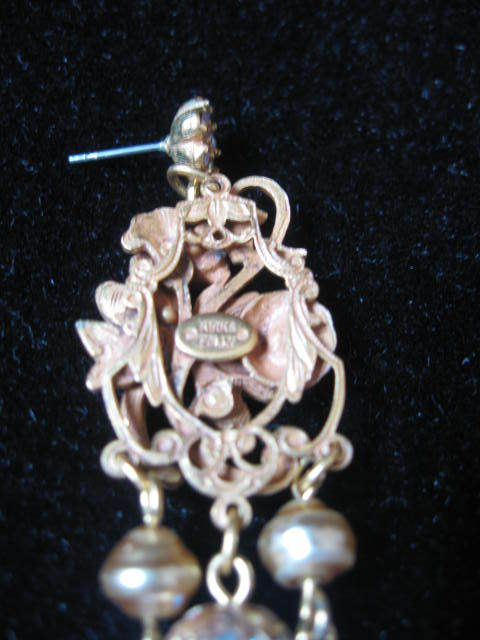 Kirks Folly Dragonfly Dangle Earrings - Pierced - Goldtone w/Crystals
