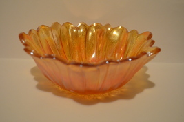 Iridescent Marigold Carnival Glass Bowl Candy Dish Lily Pattern  - $30.00