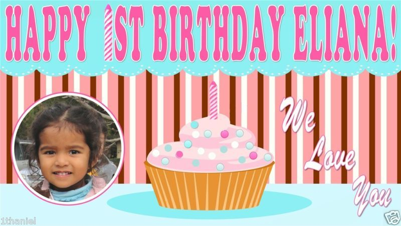 Birthday Banner  with a Cupcake Theme -Custom- Vinyl w/photo