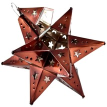 """Small 6.5"""" Hanging Tin Antiqued Brown Mexican Moravian Star Ornament Decoration image 2"""