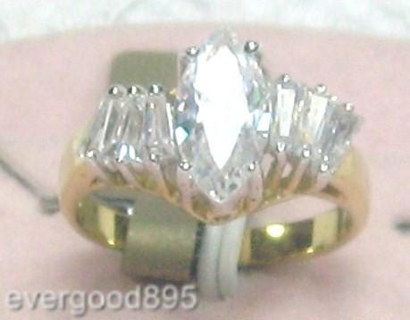 Primary image for VINTAGE18KT GF.8x12mm marquise C.Z.COCKTAIL RING sz 6-8