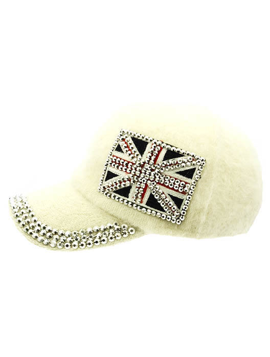 British Flag Soft Furry Hat Metallic Stud Bling Great Britain Union Jack White