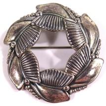 "Danecraft Sterling Silver Round Wreath Shaped Floral Leaf Brooch Pin 1.75"" Wide - $29.88"