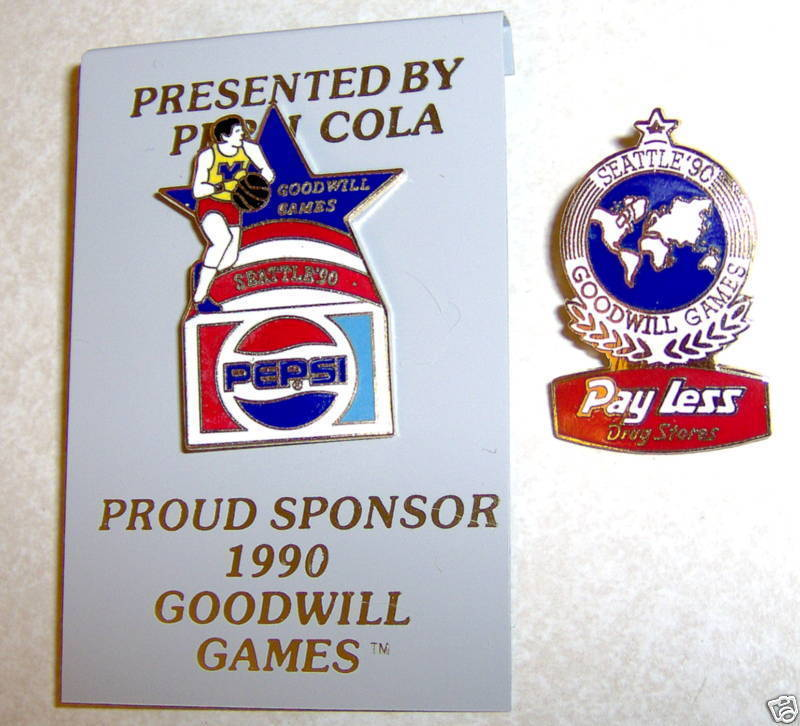2 Goodwill Games Seattle Pepsi Pay Less Drug 1990 Pins