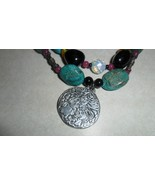 Necklace of Turquoise Amber Onyx Crystal and Goddess 3 Graces Pendant - $35.00