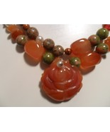 Carnelian and Unakite Handmade Necklace with Carverd Rose Pendant  - $35.00