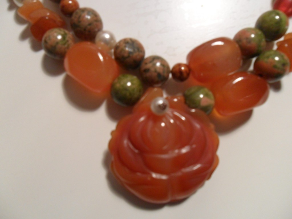 Carnelian and Unakite Handmade Necklace with Carverd Rose Pendant