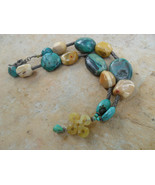 Moukalite and Turquoise Handmade Oriental Style Necklace - $30.00