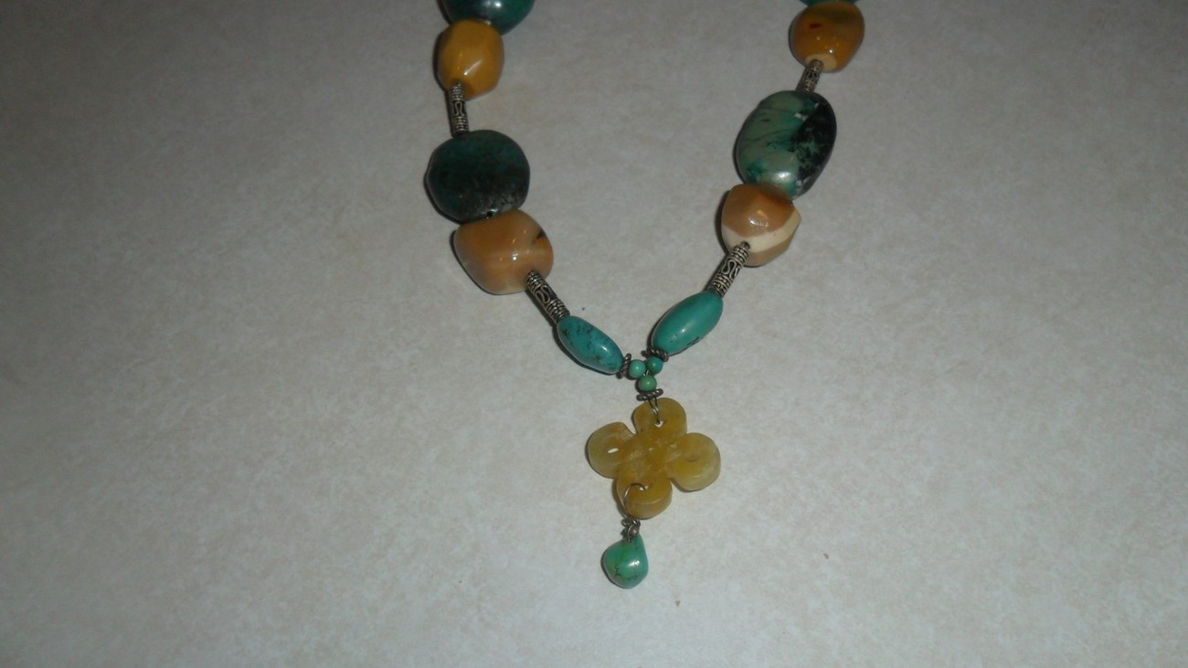 Moukalite and Turquoise Handmade Oriental Style Necklace