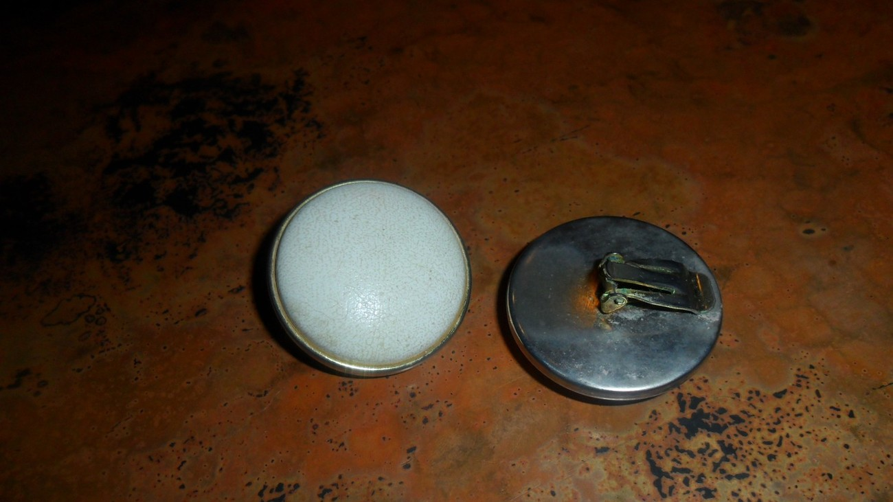 Vintage White Leather Clip on Earrings