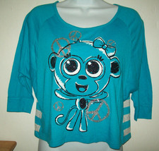 Justice Girls Top Size 12 Blue With Glittery Monkey Stripe Peace Sign Sp... - $18.80