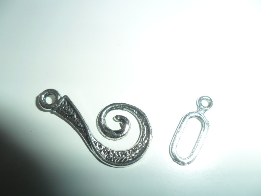 Tibetian SIlver J Hook and Eye Clasp ( 20)