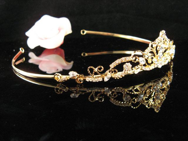 GOLDEN BRIDESMAID WEDDING TIARA ,RHINESTONE BRIDAL BRIDE TIARA COMB 5831